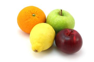 Two apples, lemon and orange