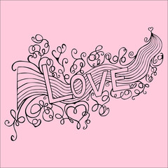 Hand-Drawn  LOVE Lettering  - Vector Illustration