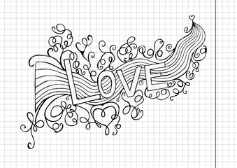 Hand-Drawn  LOVE  Paper Background. Vector Illustration