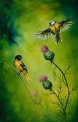 pair of songbirds flattering above a distel flower