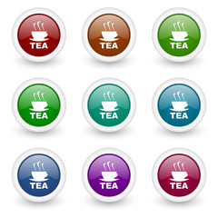 tea web icons vector set