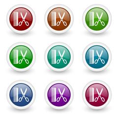 barber web icons vector set