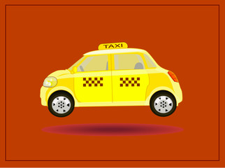 vector postcard advertising icons taxi yellow