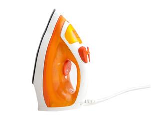 orange iron on ironing board