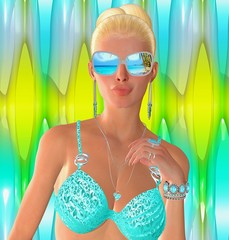 Colorful Summer Fashion. A blonde girl in a turquoise bikini