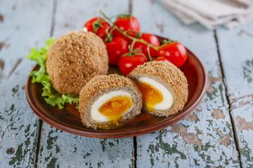 soft-boiled eggs on Scottish