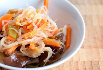 Chinese salad with mungo beans and Jew's ear fungus in a bowl.