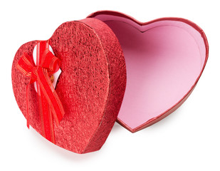 red heart-shaped gift box isolated on the white background