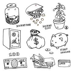 Set of cartoon money