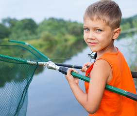 Boy fishing.