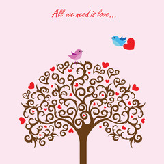 Love tree and birds in love