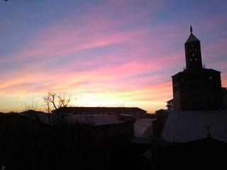 Sunset on pavia italian city