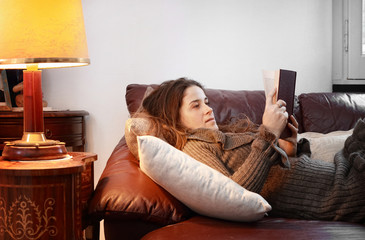 concentrated woman reading a book over comfortable sofa