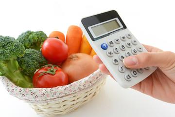 新鮮な野菜と計算機