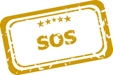 sos stamp isolated on white background