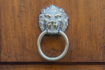 Old artistic italian door knocker on wood door, leon face shape