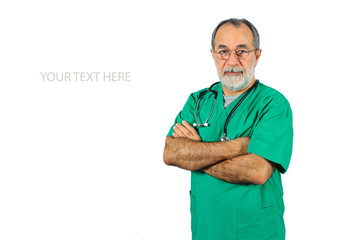 senior male surgery operator doctor in green uniform isolated