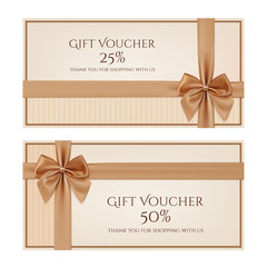 Gift voucher template with golden ribbon and a bow