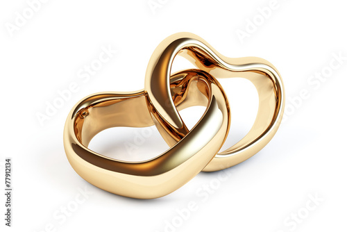 Gold wedding rings isolated - 77912134