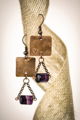 Copper earrings with purple stones