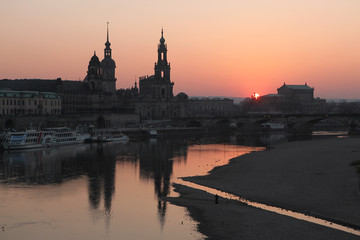 Sunset over the Elbe River in Dresden, Saxony, Germany.