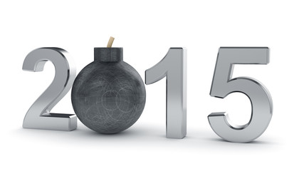 2015 year sign with round bomb isolated on white background. Dan