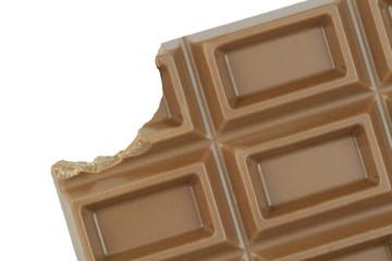 Bitten chocolate on white background