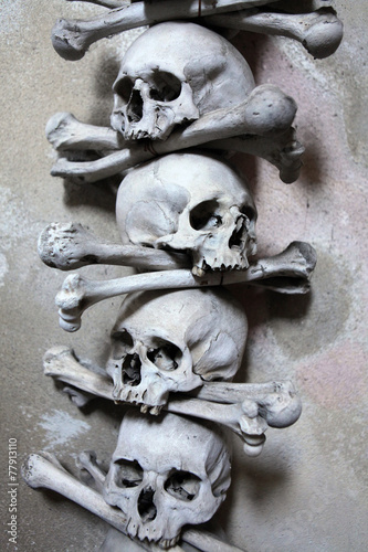 Poster Human bones and skulls in the Sedlec Ossuary.
