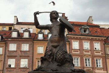 Statue of the Mermaid of Warsaw at the Old Town Square in Warsaw