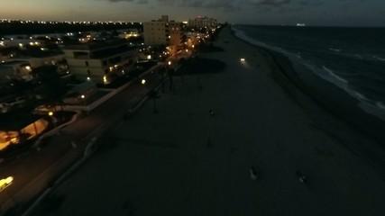 Hollywood Beach aerial night video 2.7k