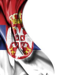 Serbia waving satin flag isolated on white background