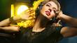 Obrazy na płótnie, fototapety, zdjęcia, fotoobrazy drukowane : Beautiful young lady listening to music
