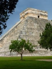 Chitchen Itza pyramid with trees
