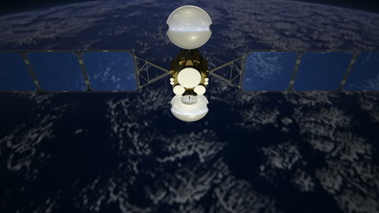 Communications satellite in orbit over Earth, view 4