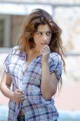 Casoual lady with plaid shirt and busty neckline