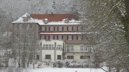 German Manor In Snowy Forest
