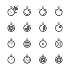 Stopwatch icons set.