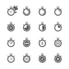 Stopwatch icons set.
