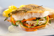 Fried pike perch fillet with vegetables. - 77916138
