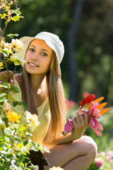 Female florist working in garden