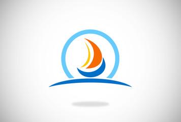 sailing boat icon and logo vector