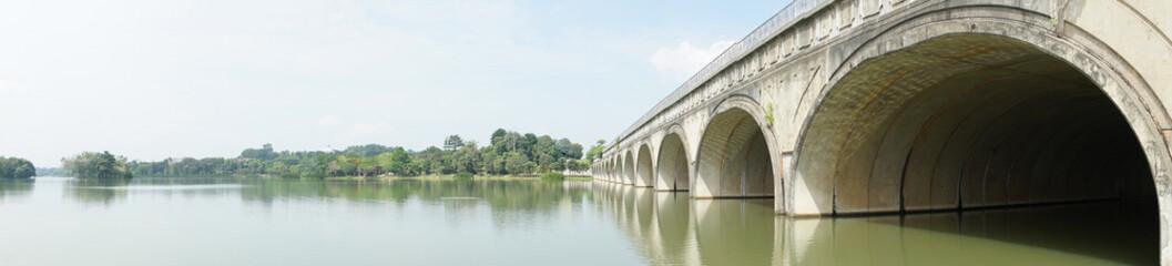 Panorama of lake and bridge