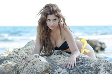 Cute lady in bikini, posing on sea wild rocks