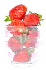 Glass cup strawberries