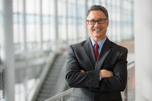 Portrait of a handsome CEO smiling - 77917361