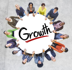 Group People Holding Hands Around Growth Concept