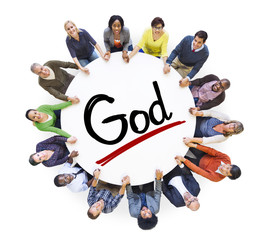 Group People Holding Hands Around Word God Concept