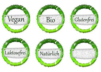 Vegan, Bio, Glutenfrei, Laktosefrei, Natürlich Buttons