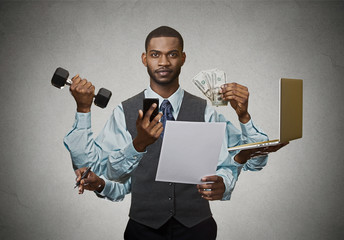 Multitasking business man busy executive on grey background