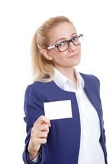Confident Businesswoman Holding Blank Credit Card